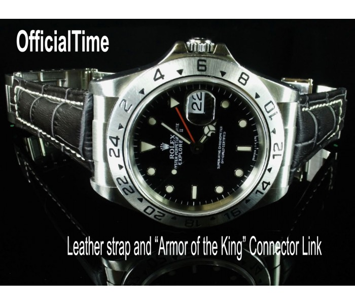 Rolex Explorer II #16570 Style - 20/16mm Calf Leather with Alligator Grain Strap (4 colors)
