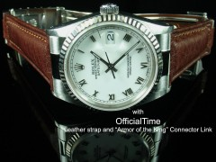 Rolex Datejust #16200 Style - 20/16mm Bull Leather Strap for Oyster (2 colors)