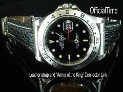 Rolex Explorer II #16570 Style - 20/16mm Shark Skin Strap (3 colors)