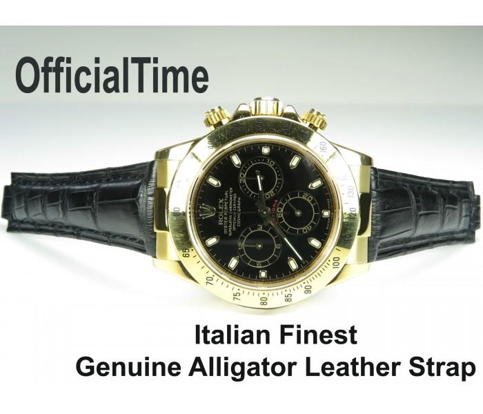 Rolex Daytona Style - 20/16mm Genuine Alligator Leather Strap (3 colors)